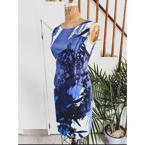 T Tahari Floral Sleeveless Sheath Dress Pockets